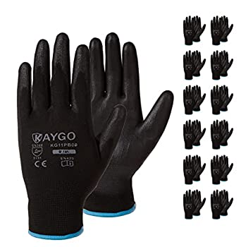 Safety Work Gloves PU Coated-12 Pairs,KAYGO KG11PB Seamless Knit Glove with Polyurethane Coated Smooth Grip on Palm & Fingers for Men and Women Ideal for General Duty Work  Medium Black