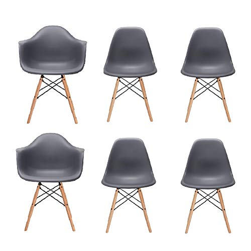 Inspirer Studio Set of 6 New 17 inch SeatDepth Eames Style Side Chair with Natural Wood Legs Eiffel Dining Room Chair Lounge Chair Eiffel Legged Base Molded Plastic Seat Shell Top Side Chairs (Armchair Combo Grey)
