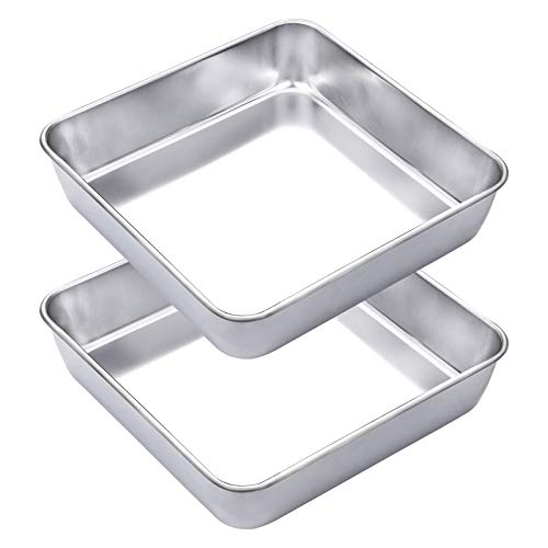 "WEZVIX Stainless Steel Square Cake Pan Set of 2, Non-stick Square Deep Dish Bakeware for Oven Baking, 8""×8""×2"" Stick Less & Dishwasher Safe"
