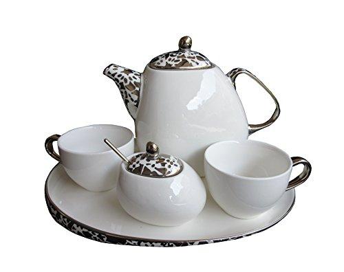Claraluna Set 2 Tazze da Thè Zuccheriera, theiera e Vassoio in Porcellana Bianca E Silver