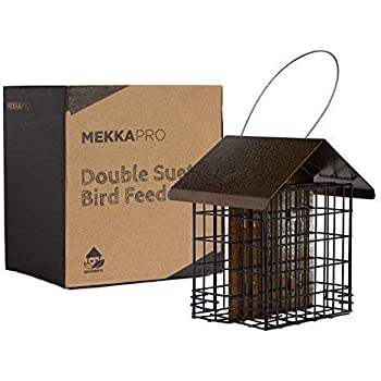 MEKKAPRO Suet Wild Bird Feeder with Hanging Metal Roof, Two Suet Capacity, Bird Feed Recommended (Double)