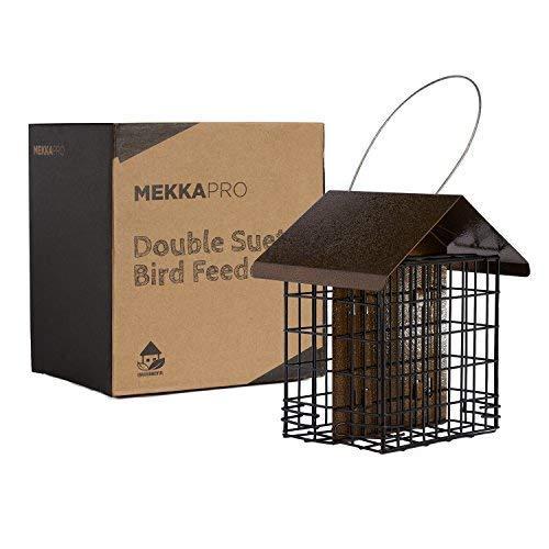 MEKKAPRO Squirrel Proof Double Suet Wild Bird Feeder with Hanging Metal Roof, Two Suet Capacity