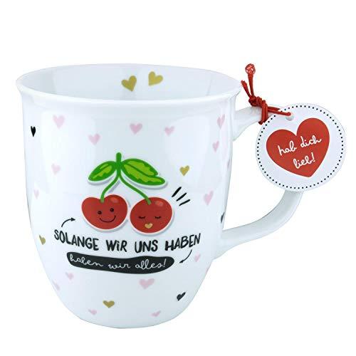 H:)PPY life 46269 Tasse mit Design Kirschen, Geschenk Liebe, Porzellan, 40 cl