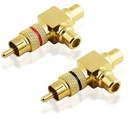 BestPlug 2 Stück Audio RCA L-R Winkel-Adapter Splitter, 1 Cinch Stecker männlich gerade auf 1 Cinch Buchse Kupplung weiblich gerade und 1 Cinch Buchse 90° abgewinkelt, vergoldet