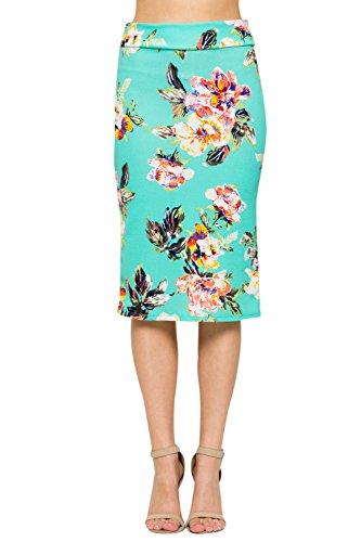 Junky Closet Women's Comfort Stretch Pencil Midi Skirt (2XL, 2936TKAU Mint Floral)