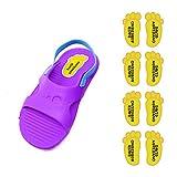Etiquetas para zapatos personalizadas. 8 Pares de adhesivos con forma de pie de 21 x 37'5 mm. Modelo: 3. Amarillo