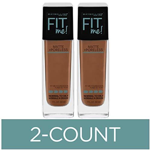 Maybelline Fit Me Matte + Poreless Liquid Foundation Makeup, Nutmeg, 2 COUNT