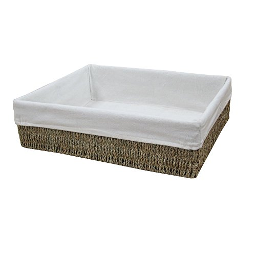 Katie Jane HOME Seagrass Rectangular Storage Baskets Empty Hamper Baskets Trays Lined X Large