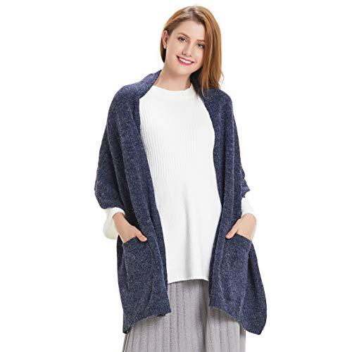 Hanerdun Womens Thick Knit Wrap Soft Warm Shawl Winter Scarf With Pocket Navy Blue ,ONE SIZE