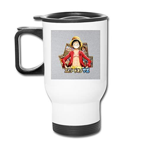 One Piece Luffy Wanted Poster 454 ml Edelstahl Trinkbecher doppelwandig Vakuum-Kaffeebecher mit spritzwassergeschütztem Deckel für heiße und kalte Getränke