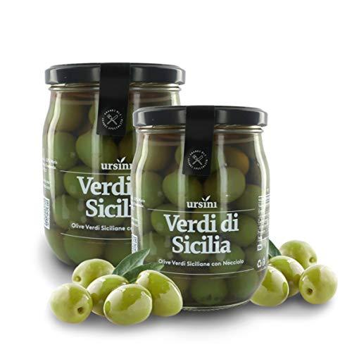 Ursini Aceitunas Verdes de Sicilia en salmuera, con Hueso - 550 gr (Paquete de 2 Piezas)