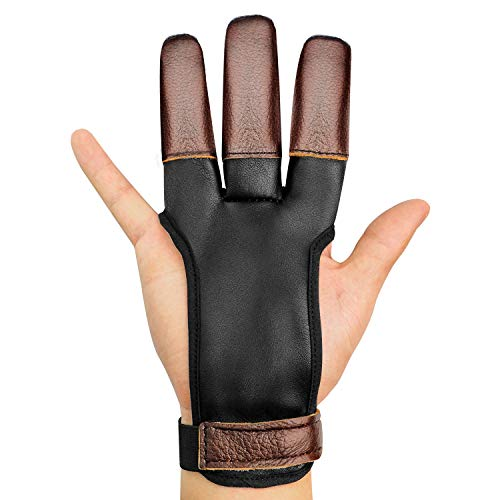 JKER TECH Archery Gloves Leather Three Finger Shooting Genuine...