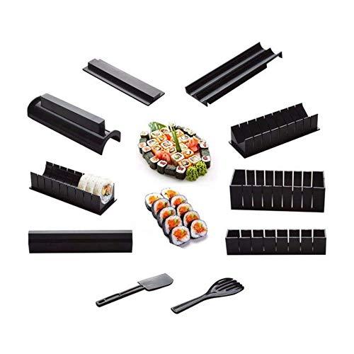 10 fotos/juego Diy Sushi Maker Molde Onigiri Kits de moldes de arroz Accesorios de cocina Bento Herramientas Combinación Rollo Herramienta de bola de arroz, Negro