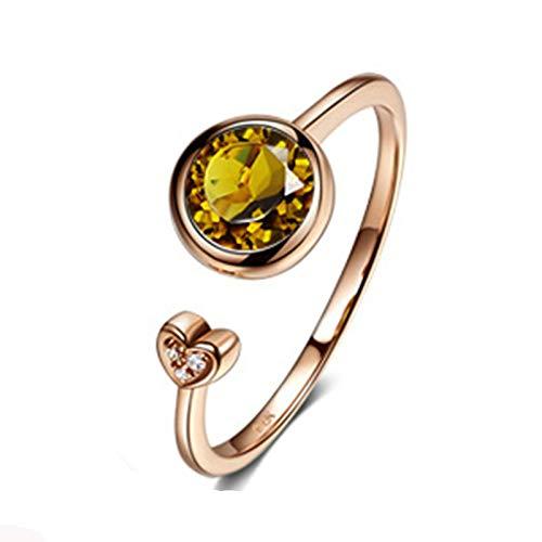 Aeici Anillos De Mujer Oro rosa 18k, Anillos De Boda Oro Turmalina Diamante 0.8ct, Redonda, Talla 18,5