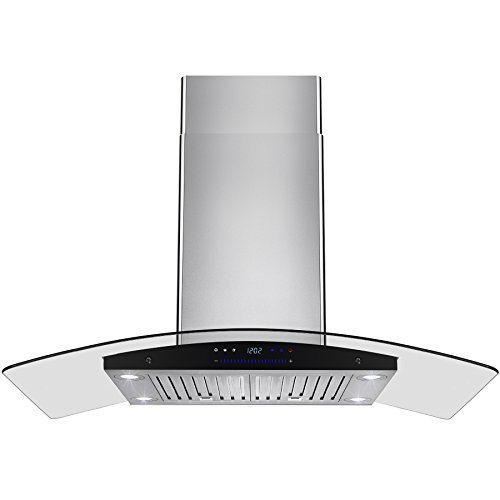 "AKDY New 36"" European Style Island Mount Stainless Steel Range Hood Vent Swiping Sensor Control W/Both Side Accessible Control"