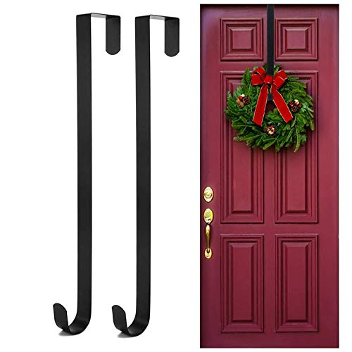 Kederwa 2 Pack 15'' Wreath Hanger for Front Door, Over The Door Wreath Hook Hanging Holder for Christmas Decoration (Black)