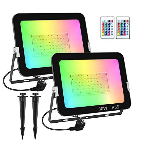 T-SUN 30W Foco RGB Led (2 Pack), Foco Colores con Control Remoto, Foco led Interior de Cambio Color, Foco Led Exterior IP65 Impermeable, Función de Memoria para Fiesta Jardín Patio.
