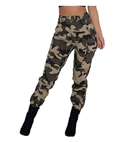Pantalones Militares Mujer Cintura Alta Pantalon de Camuflaje de Chándal Hip Hop Punk Rock Casuales Tumblr Streetwear Sin cinturón Moda 2019 Yvelands(Caqui,S)