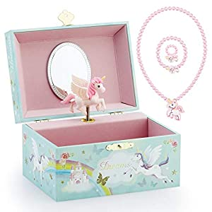 Kids Musical Jewelry Box for Girls and Jewelry Set with Mysterious Unicorn – Over the Waves Tune Pink