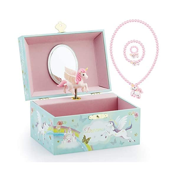 RR ROUND RICH DESIGN Kids Musical Jewelry Box for Girls and Jewelry Set with Magical Unicorn - Blue Danube Tune Pink 3