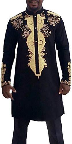 Gmhnssdszd Men's Autumn Winter Luxury African Style Ethnic Print Long Sleeve Stand Collar Button Shirt Pants Sets M-3XL