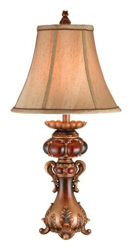 OK LIGHTING 31 in. Antique Brass Table Lamp