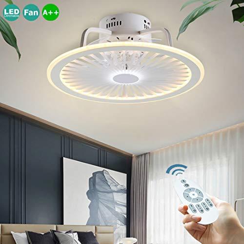 Deckenventilator Mit Beleuchtung Fernbedienung Dimmbarer 56W LED 3-Gang Ventilator Deckenleuchte Timer Unsichtbare Ultra-Leise Deckenlampe Moderne Wohnzimmer Schlafzimmer Fan Lamp Kinderzimmer Weiß