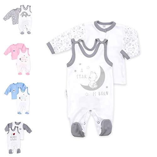 Baby Sweets 2er Strampler Set & Shirt für Mädchen und Jungen Verschiedene Größen, Grau - A Star Is Born, 3 Monate (62)