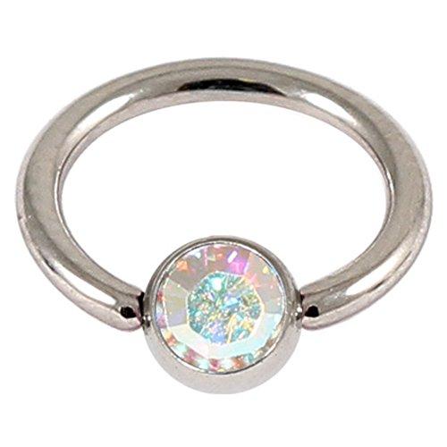 TDi Body Jewellery BCR mit Kristallsteinen, Chirurgenstahl, Kristallkugel 1,0 mm Dicke, 8 mm Innendurchmesser. Ring aus Chirurgenstahl. Ideal für EIN Smiley-Piercing.