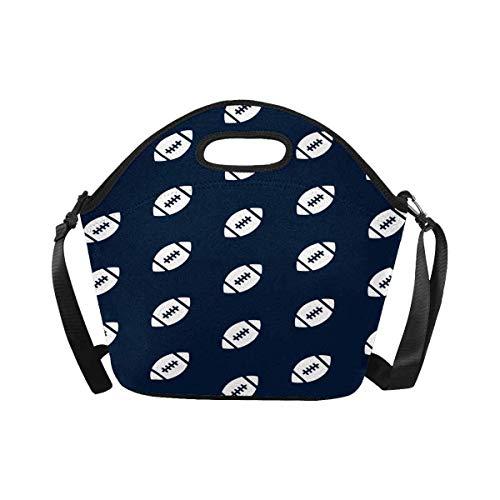 Cute Bi Große Isolierte Neopren Lunch Tasche Rugby Ball American Football Dunkelblaue Lunch Box Handtasche mit Schultergurt