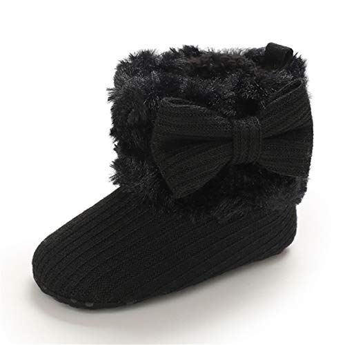 COSANKIM Baby Girls Boys Boots Soft Anti-Slip Sole Warm Winter Snow Booties Toddler Infant Newborn Prewalker Shoes(3-6 Months Infant, 06-Black Baby Shoes