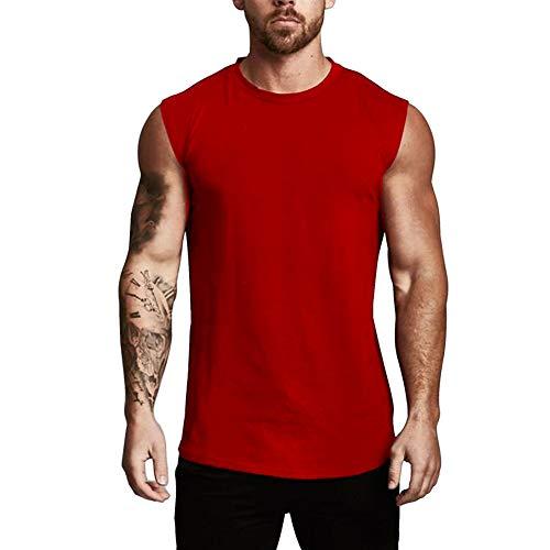 Fansu Camiseta de Tirantes para Hombres, Cómodo Transpirables Fitness Gym Muscular Absorbente Chaleco Bodybuilding Tank Top Sport Vest Culturismo (XXL,Vino Tinto)