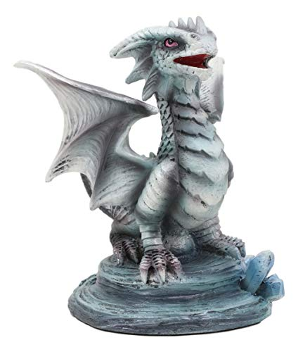 Ebros Baby Blue Sea Rock Dragon Collectible Statue 4.25' Long Mythical Fantasy Ocean Age of Dragons Figurine Artwork by Anne Stokes (Baby Rock Wyrmling)