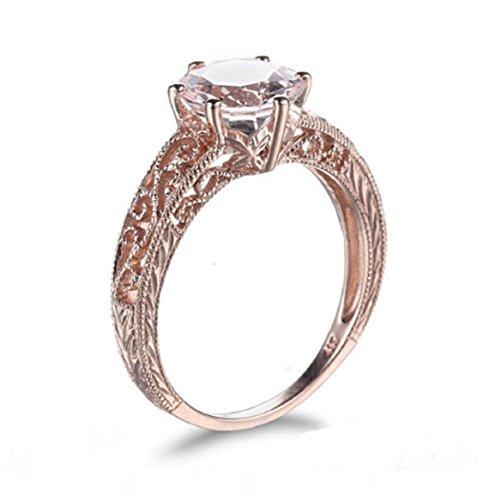 Gowe Damen massiv 10K Rose Gold 7,5–8mm Rundschliff 1,66ct Morganit Verlobungsring & Hochzeit Feiner Ring Art Deco Damen Schmuck Ring