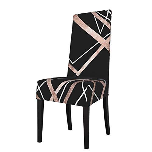 Fundas elásticas para silla de comedor, color oro rosa, diseño abstracto y triángulo, color negro, extraíble, lavable, suave, para cocina, hogar, restaurante