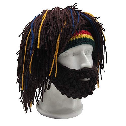 Handgemaakte gebreide mannen winter haak snor hoed baard bonen gezicht kwast fiets masker ski warm pet grappige hoed gift