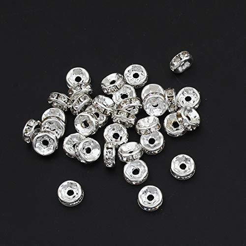 50stk Kristall Strass 6mm Rondelle Spacer Perlen Rund Ton Silberfarbe Messing Metallperle perlen A Qualität Strassperlen Strasssteine R41