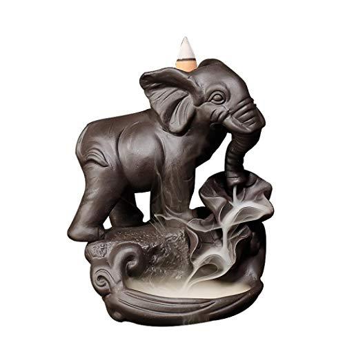 Handgemachte Keramik Weihrauchhalter, Rückfluss Weihrauch Brenner Elefant Figur Weihrauch Kegel Halter Wohnkultur Geschenk Dekorationen Statue Ornamente mit 10 Freikegeln