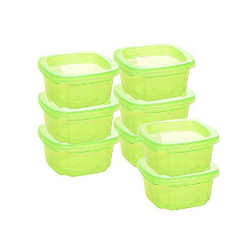 Yudesun Contenitori Pappa Neonati Freezer - 8 Pezzi Contenitori Plastica Piccoli con Coperchio Contenitori Alimentari Campeggio Sigillato Verde