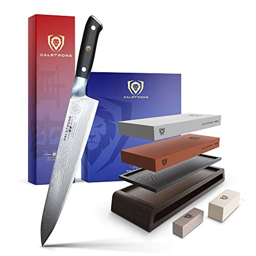 The Shogun Series 9.5' Chef Knife Bundled with The Dalstrong Premium Whetstone Kit