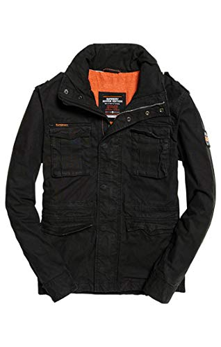 Superdry Herren Classic Rookie Military Jacket Mantel, Schwarz (Bitter Black Xbz), X-Large