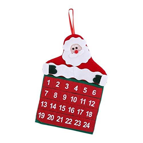 Calendario de Santa Claus, Navidad Decoración de la tela bolsillos Feliz Navidad Santa Claus Padre Adviento Calendario de cuenta atrás del ornamento