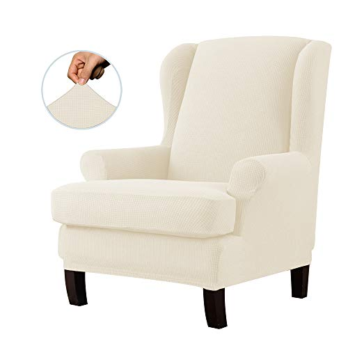 E EBETA Jacquard Sesselbezug, Sessel-Überwürfe Ohrensessel Überzug Bezug Sesselhusse Elastisch Stretch Husse für Ohrensessel (Cremefarbe)