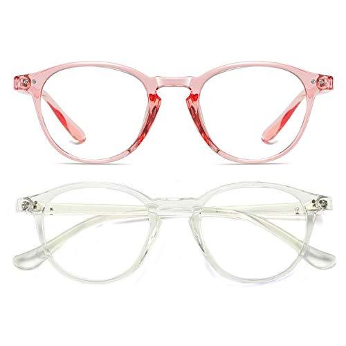 Dollger Blaulichtfilter Brille Computerbrille ohne sehstärke Anti-Blaulicht Klassische Rund Frame Gaming Brille für Damen Herren (Transparent und Rosa)