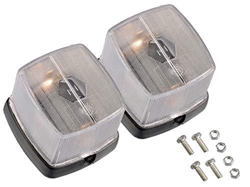 2x Anhänger Positionslicht Weiß Reflektor 60x65mm Begrenzungslicht Umrißleuchte Markierungsleuchte