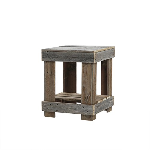 Del Hutson Designs - Rustic Barnwood End Table, USA Handmade Reclaimed Wood (Natural)