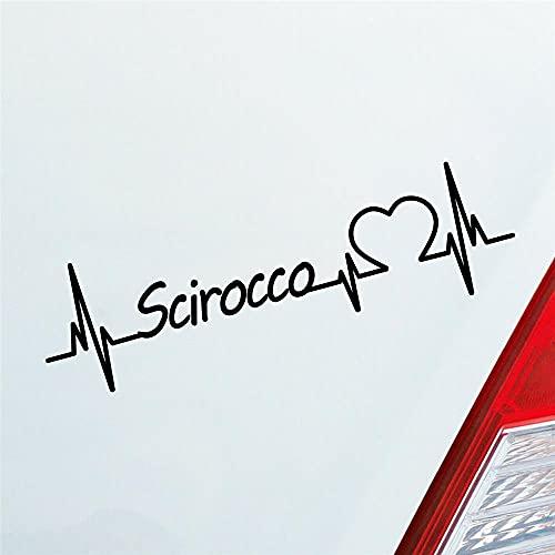 Autocollant pour voiture Scirocco Cœur Puls Wind Name Car Sticker Love env. 19 x 5 cm Autocollant pour pare-brise arrière