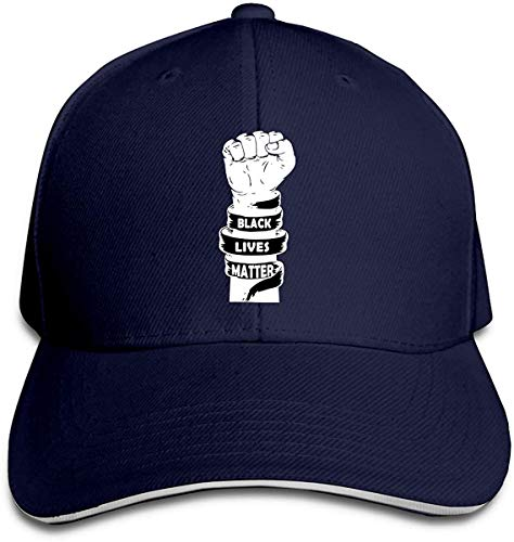 NJAAN Women's Men's Black Lives Matter Adult Adjustable Dad Hat,Navy,One Size