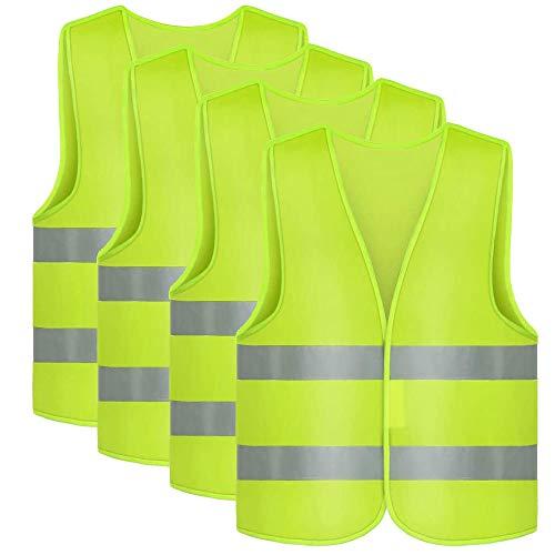 ManLee 4pcs Gilet di Sicurezza Giubbotto Visibile Antinfortunistici Giubbino Fluorescente Omologato Unisex Alta visibilità Giacca da Lavoro Riflettent
