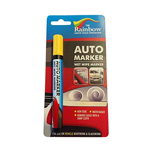 Price comparison product image Car Paint Marker Pens Auto Writer Yellow - All Surfaces,  Windows,  Glass,  Tire,  Metal - Any Automobile,  Truck or Bicycle,  Water Based Wet Erase Removable Markers Pen